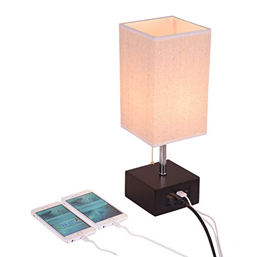 (USB Bedside Table Lamp,Hhome Plus Functional Desk Lamp with 2 Black USB Charging Ports and 2 Outlets, Havana Brown Wood Charger Base Nightstand Lamp,Perfect Lamps for Bedroom,Living Room,Office)