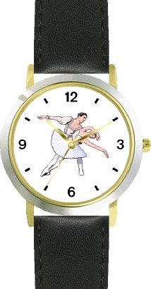 Ballerina and Ballet Dancer Couple No.1 - WATCHBUDDY DELUXE TWO-TONE THEME WATCH - Arabic Numbers - Black Leather Strap-Children's Size-Small ( Boy's Size & Girl's Size ) by WatchBuddy