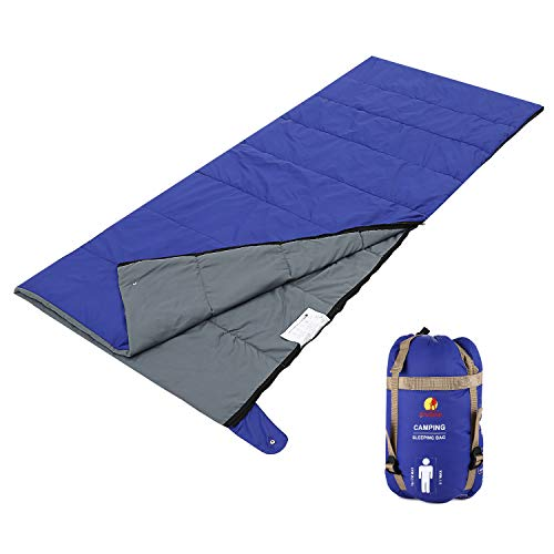 Andake Envelope Sleeping Bag, Machine Washable Lightweight Splash-Resistant with Compression Sack Great for 3 Season Indoor & Outdoor Use, for Hiking, Camping, Backpacking, Traveling (Single/Double)