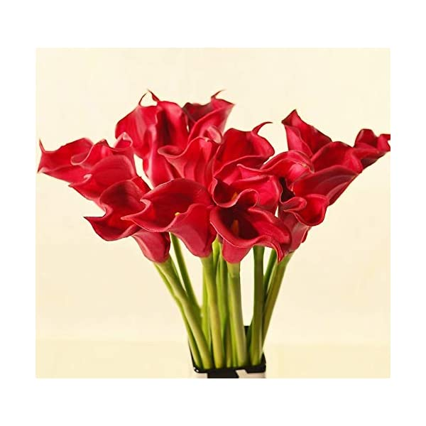 Meide Group USA 25″ Large Handmade Real Touch Latex Calla Lilly Artificial Spring Flowers for Arrangements, Bouquets, Weddings, and centerpieces (Pack of 5) (Bright Red)