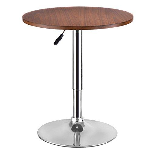 Modern Sleek Design Bar Table Adjustable Kitchen Bistro Counter Pub Round Wood Top 360 Degree Swivel/ Walnut - Arcade Perth