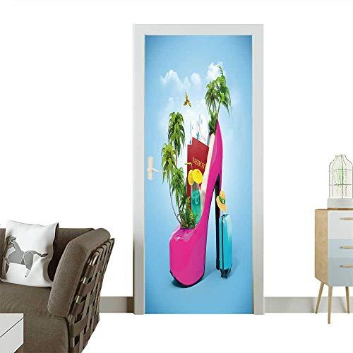 3D Door Decals Tropical Island in The Women's Shoe Unusual Travel Self Adhesive Door Decal W38.5 x H77 -