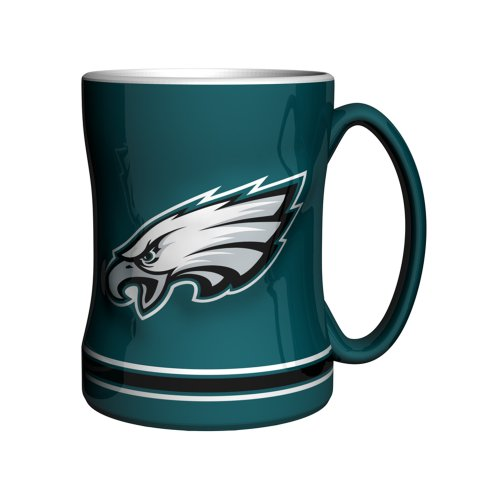 NFL Philadelphia Eagles Sculpted Relief Mug, 14-ounce, Midnight Green