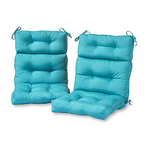 Greendale Home Fashions Outdoor High Back Chair Cushion (set of 2), Teal