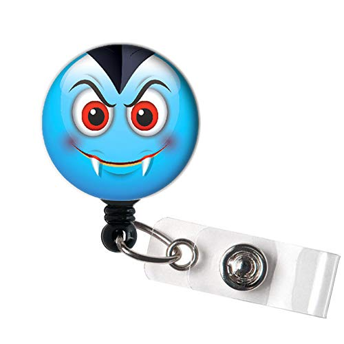 LOVEKITTY - Halloween Emoji Funny Funky Face Retractable ID Badge Reel Swivel Clip/Name Badges/ID Badge Holder/Doctor Nursing Badge/Coworker Teacher Nurse Great Gift ()
