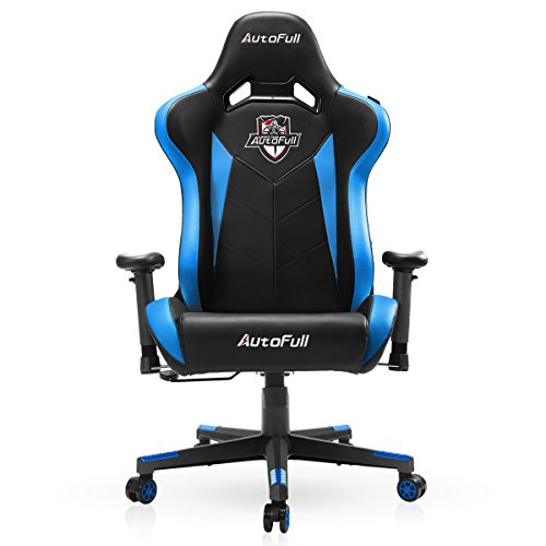 AutoFull Gaming Chair, Large Size Racing Chair, Office Chair, Executive Swivel Leather Chair High-back Ergonomic Computer Chair PU Leather Mesh Bucket Chair Cushion Headrest Lumbar Support AF043(Blue)