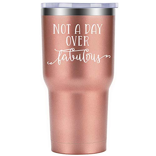 Not a Day Over Fabulous | Funny Birthday Gifts Ideas for Women, Best Friends, Coworkers, Her, Wife | Mother's Day Gift for Mom, Grandma | Coolife 30oz Stemless Insulated Wine Tumbler with Lid -