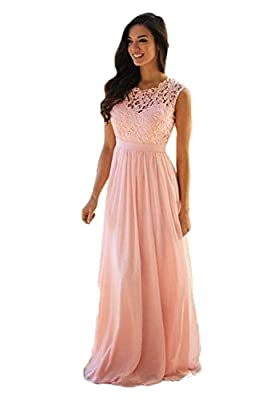 MisShow Lace Chiffon Bridesmaid Dresses Long 2017 Sheer Prom Evening Gowns