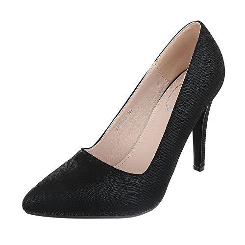 Ital-Design High Heel Damenschuhe Plateau Pfennig-/Stilettoabsatz High Heels Pumps Schwarz