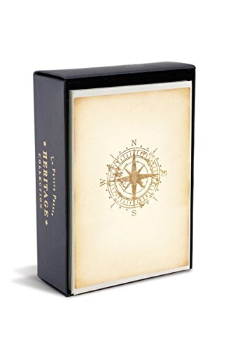 Graphique Heritage Compass La Petite Presse Notecards, 10 Durable Embossed and Embellished Gold Foil Cardinal Compass Notes with Matching Envelopes, 3.25
