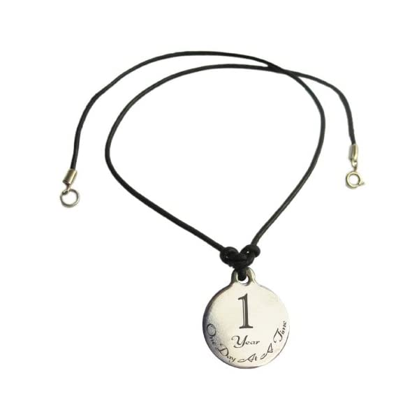 Serenity is Forever 5 Year Sobriety Anniversary Medallion Leather Necklace for Sober Birthday NA Narcotics Anonymous AA Alcoholics Anonymous