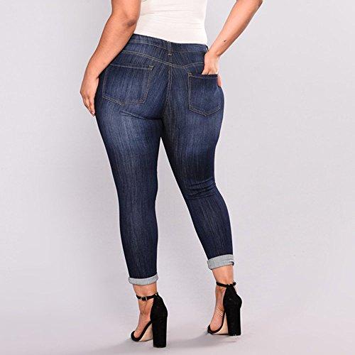 Petits fonc Fonc Femme Bleu Grande Taille Crayon Pieds Jeans bleu lastique Zipper Sfit Pantalons Trou Xq676