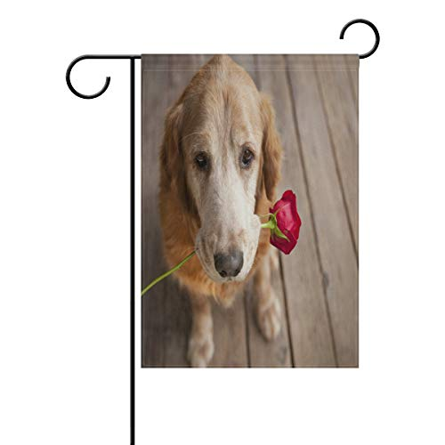 Valentine's Day Single Dog Garden Flag House Banner Long Polyester Decorative Flag for Wedding Party Yard Home Outdoor Decor Season Porch Lawn 12