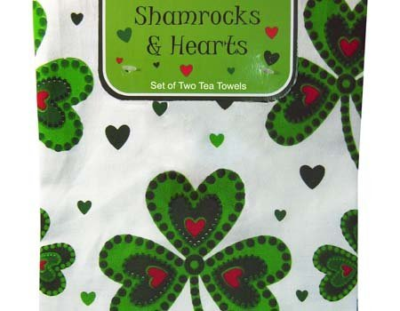 Shamrock And Hearts Designed Set Of Two Tea Towels With Ireland Text