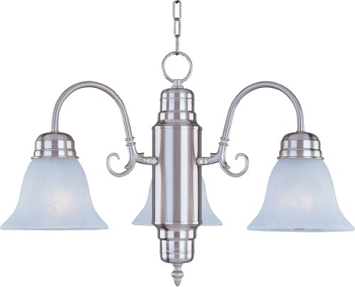 Maxim 91196MRSN Builder Basics 3-Light Chandelier Down Light Chandelier, Satin Nickel Finish, Marble Glass, MB Incandescent Incandescent Bulb , 60W Max., Dry Safety Rating, Standard Dimmable, Metal Shade Material, Rated Lumens