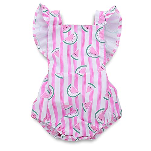 (YOUNGER TREE Newborn Baby Girls Summer Jumpsuit Outfit Romper Bodysuit Watermelons Print Backless Ruffled Playsuit Clothes (3-6 Months, Pink))