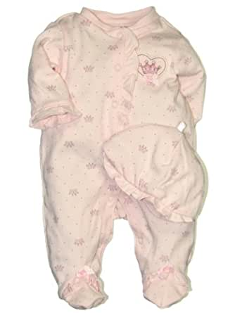 Baby / Infant Girls Little Princess Footie Sleeper with Hat by Little Me - Pink - Preemie