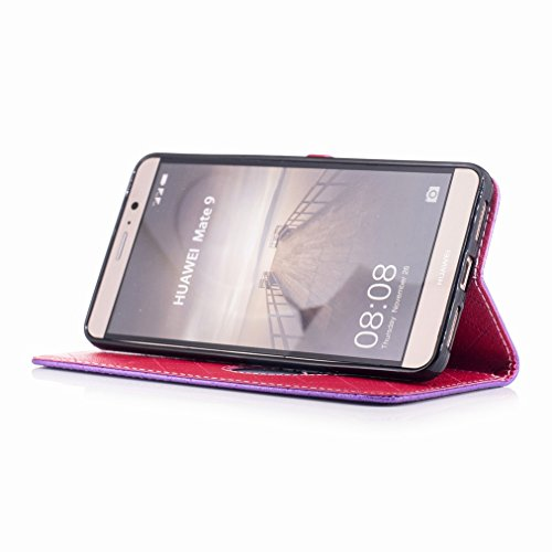 Yiizy Huawei Mate 9 Funda, Amar Diseño Solapa Flip Billetera Carcasa Tapa Estuches Premium PU Cuero Cover Cáscara Bumper Protector Slim Piel Shell Case Stand Ranura para Tarjetas Estilo (Morado)