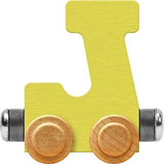 product image for Maple Landmark NameTrain Pastel Letter Car J - Made in USA (Yellow)