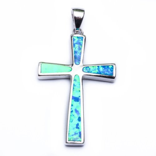 (Solid Lab created Blue Opal Cross .925 Sterling Silver Pendant Necklace )