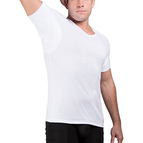 rshirts for Men V Neck Cotton with Odor Fighting Silver (Large, White) ()