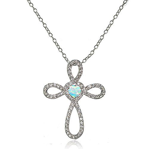 Lovve Sterling Silver Created White Opal & White Topaz Heart Infinity Cross Necklace
