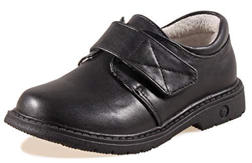 Image of SKOEX Boy's Black Easy Fasten Dress School Uniform Oxford Shoes(Toddler/Little Kid)
