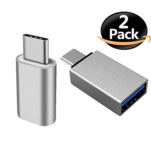 ANLOER USB C to Micro USB Female Adapter + USB C to USB 3.0 Adapter - Aluminum Body - for Samsung Galaxy Note 8 - Samsung S8 S8 Plus and More (Silver)
