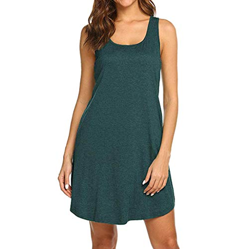 CCOOfhhc Women Summer Dresses Casual T Shirt Dresses Beach Cover up Plain Pleated Swing Tank Dress with Pockets Green