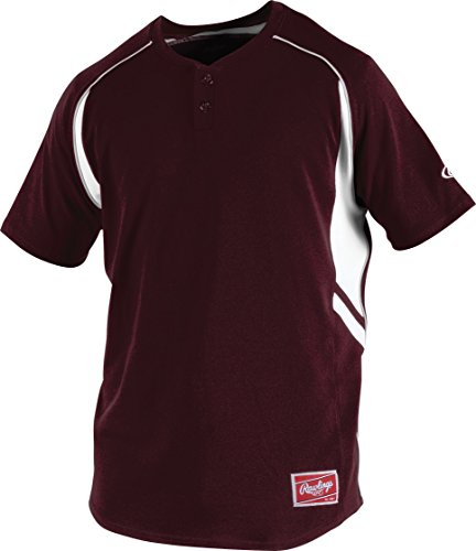 Rawlings Boy's 2-Button Jersey, Maroon, Medium (Jersey Button Two Softball)
