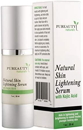 Skin Lightening Cream Dark Spot Corrector - Neck Cream Brightening Serum – Face and Full Body Whitening Cream with Kojic Acid and Jojoba Oil by Pureauty Naturals