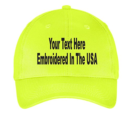 Custom Hat, Embroidered. Your Own Text. Adjustable Back. Curved Bill (Neon - Monogram Hat