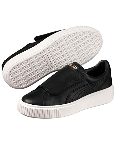 PUMA Women's Basket Platform Strap Wn Sneaker, Black White, 7.5 M US