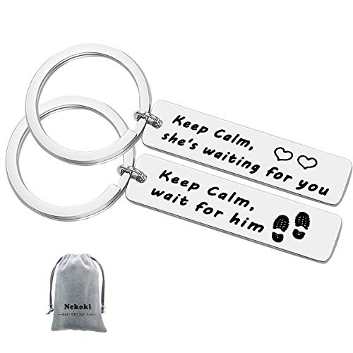 Couple Keychain Set Long Distance Relationship Gift Military Couples Keychain Keep Calm Wait for Him/Keep Calm She's Waiting for You Keychain Boyfriend Gift Girlfriend Gift Going Away Gift