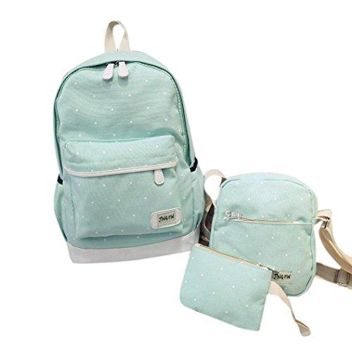 Clode® Muchacha de las mujeres de la lona Dot Mochila y bolsa de hombro y de la carpeta Set Azul
