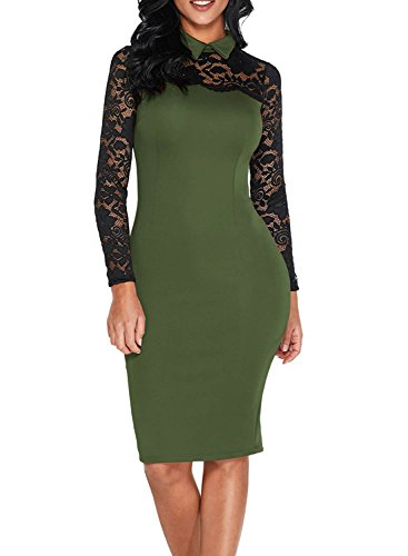 Elapsy Womens Black Lace Long Sleeve Classic Collar Bodycon Vintage Party Midi Dress Olive - Vintage Women Nude Black