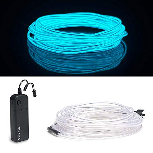 Zitrades EL Wire, Portable Neon Lights EL Wire 15ft Ice Blue, Neon EL Wire for Parties, Blacklight Run, DIY Decoration -