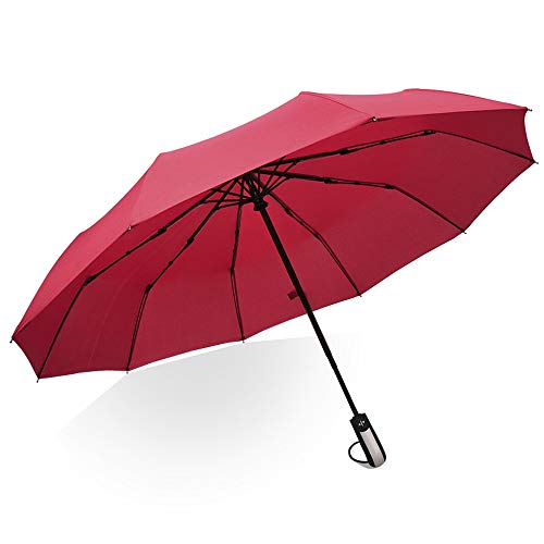 ICVDSRG Compact Business Quick-Drying Umbrella, Used On Sunny Or Rainy Days, Automatic On/Off Protection, Sliding Handle for Easy Carrying,Red