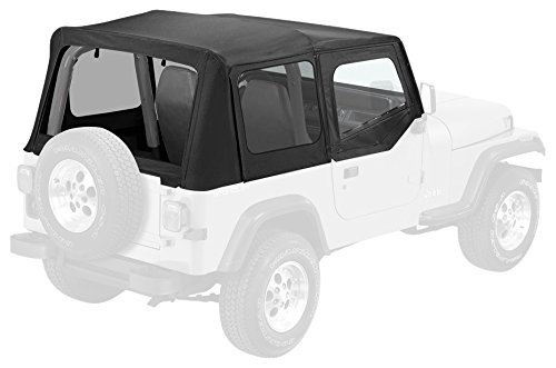 Soft Upper Doors (Pavement Ends by Bestop 51130-15 Black Denim Replay Replacement Soft Top Clear Windows w/ Upper Door Skins for 1988-1995 Jeep Wrangler)