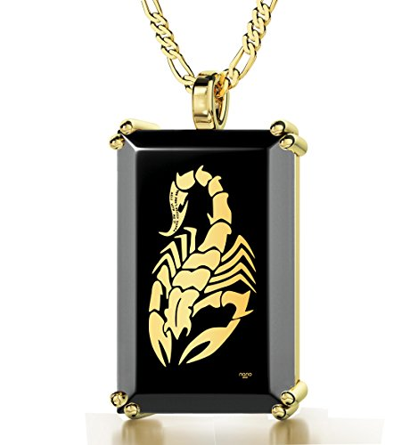 Gold Plated Men's Scorpion Necklace Inscribed with