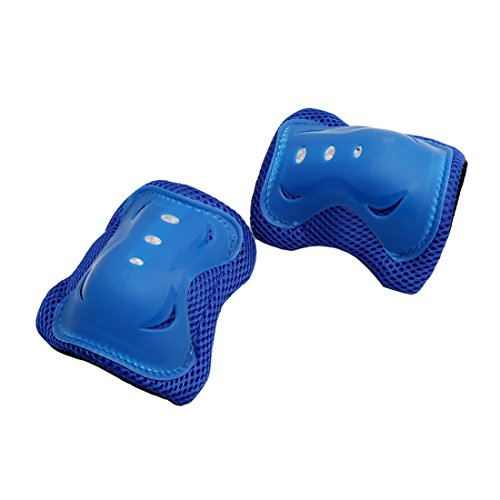 Rurah Skating Knee Pads Wrist Roller Elbow Blading Pad For Kids 6Pcs ,Blue