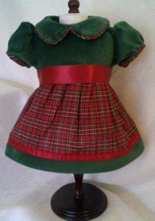 American Girl Locker – CHRISTMAS HOLIDAY TAFFETA PRETTY and PLAID DRESS – fits American Girl 18″ Doll Clothes, Baby & Kids Zone