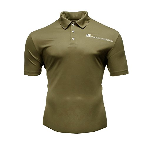 - Fusion VS Wear Men's Microfiber Slim Fit Compression Short Sleeve Athletic Sport Performance Training Tactical Polo T-Shirt Made in USA Large Coyote Brown