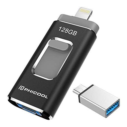 chollos oferta descuentos barato Unidad Memoria Flash USB 3 0 128GB Memoria Lápiz Drive OTG PHICOOL 4 en 1 con Type C Conector USB Mirco Expansión de Memoria para iPhone iPad Android PC Negro