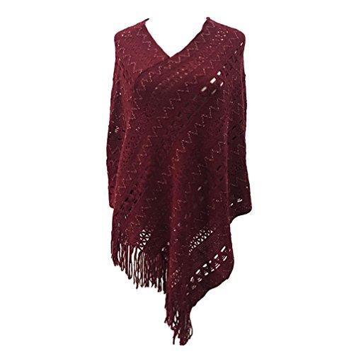 V Up a Crochet LvRao Oversized Collo Rosso Cover Mantelle Blusa Pullover Donna Elegante per Tops Maglione Poncho CPqxwCBXnT