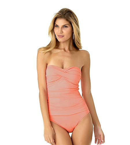 New Swimsuit Bathing Suit - Anne Cole Women's Twist Front Shirred One Piece Swimsuit, New Coral, 6