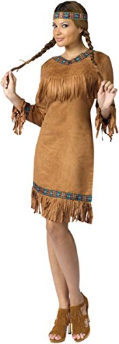 FunWorld Native American Adult, Brown, 2-8 Small Costume (Adult American Indian Costume)