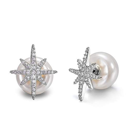 (Tilevera Silver Plated White Crystal Pave Star-Shaped White Simulated Pearl Stud Earrings)