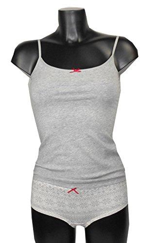 Damen PJ SET-TOP-Short Grau Creme bedruckt Nachtwäsche UK 8/1018/20(A503)