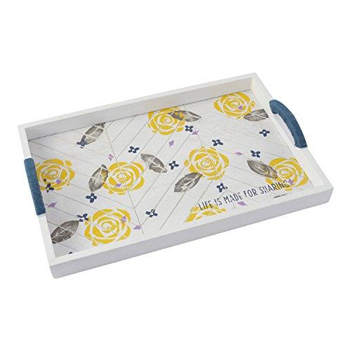 Yellow Rectangular Tray - Hallmark Home White Washed Wood Chevron Rectangular Tray with Yellow Floral Design